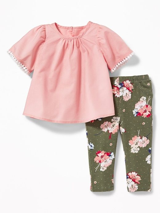 f311958c9 Lace-Trim Blouse & Printed Leggings Set for Baby | Old Navy | Baby ...
