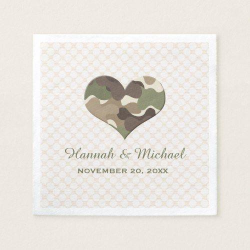 Camo Outdoor Wedding Ideas: CAMOUFLAGE CAMO HEART WEDDING NAPKIN