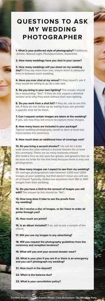 Questions To Ask Your Wedding Photographer.Questions To Ask Your Wedding Photographer Great Wedding Advice