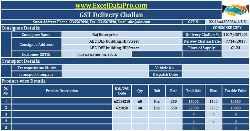 Download GST Delivery Challan Format in Excel For Transportation - Tax Invoice Layout