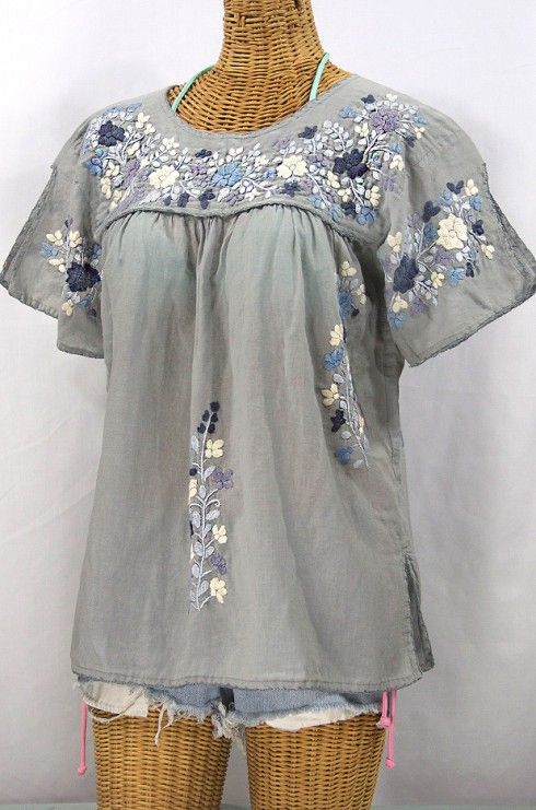 La Lijera Embroidered Peasant Blouse Mexican Style Shades Of Grey