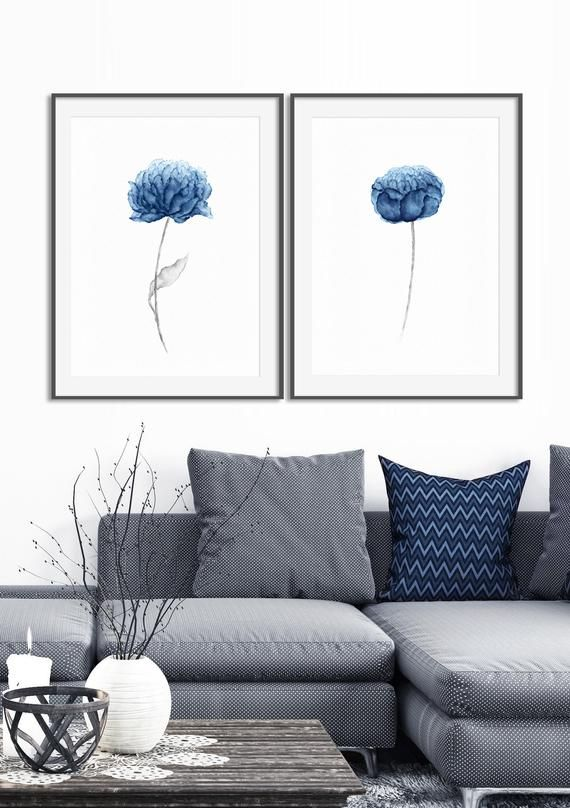 Blue peony flower watercolor paintings - set of two #bluepeonies