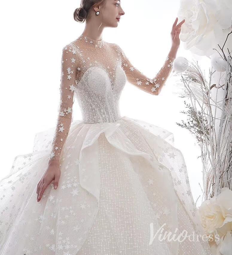 Luxus Glitter Stars arabische Brautkleider mit langen Ärmeln VW1515
