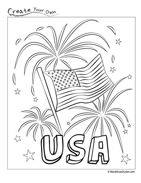 Happy Fourth Usa Fireworks Coloring Page Free Printable