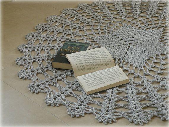 Elegante tappeto uncinetto cotone grigio perla di FilinFilando