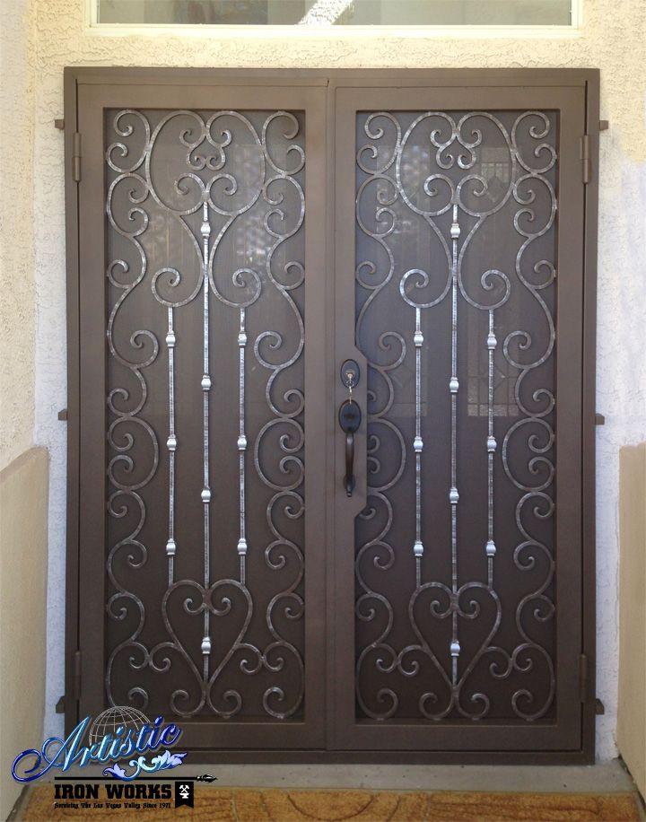 Duchess Wrought Iron Security Screen Double Doors Model