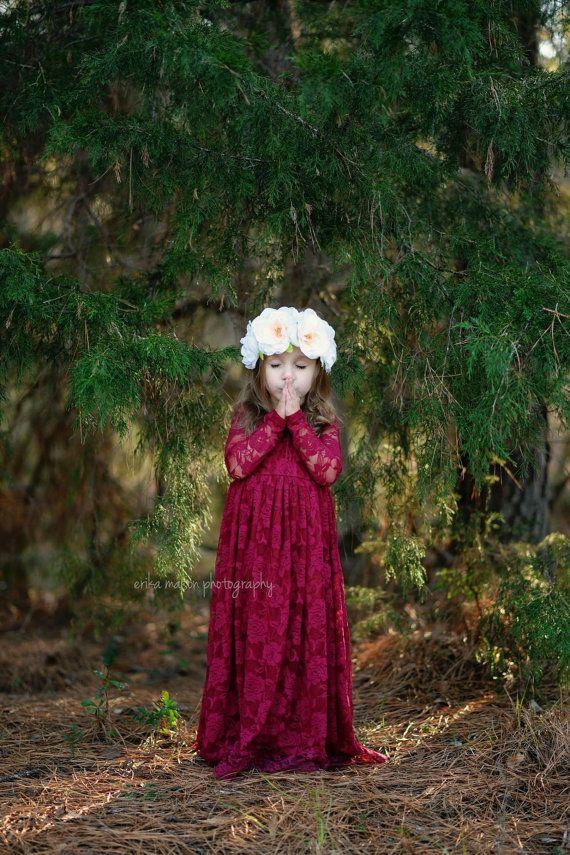 447426dcf Burgundy Sweetheart Dress Flower Girl Wedding by KutieTuties ...