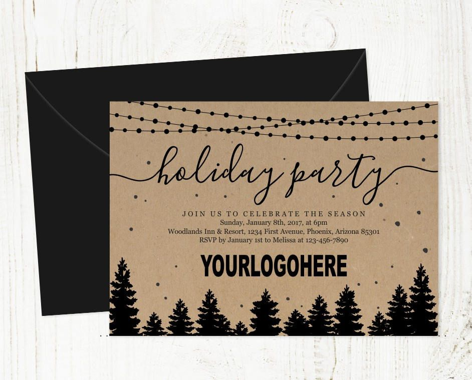 Add Business Logo - Corporate Holiday Party Invitation - Printable - corporate party invitation template