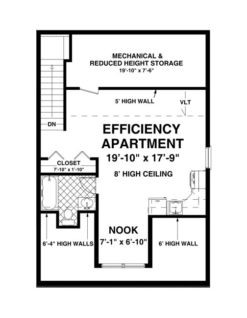 Upper level floor plan of our RV Garage Plan, which features a ...
