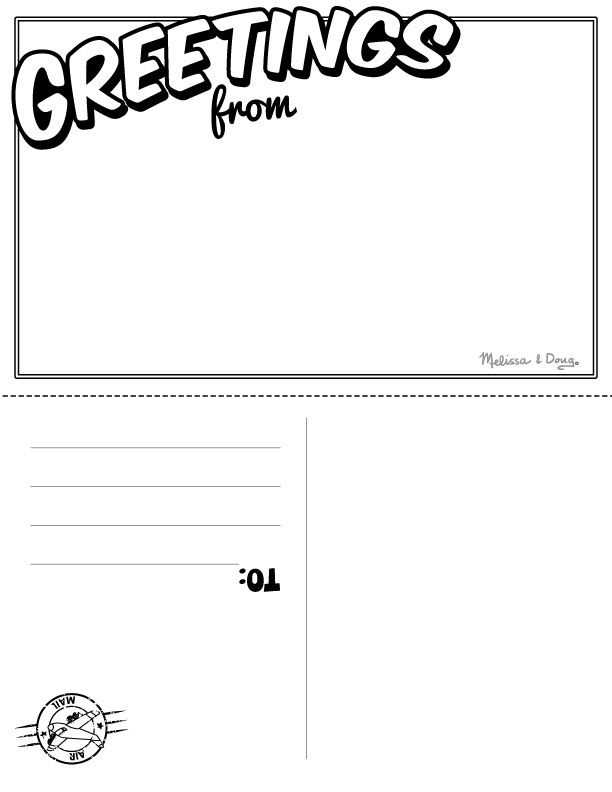 Travel Postcard  Pen Pal Projects for Kids Kids writing, Vacation - postcard template free printable