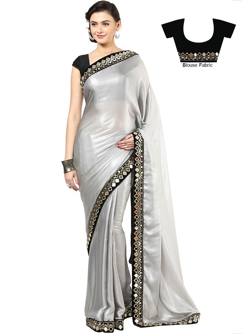 f20d3faf91e95 Grey Fancy Fabric Mirror Work Border Saree