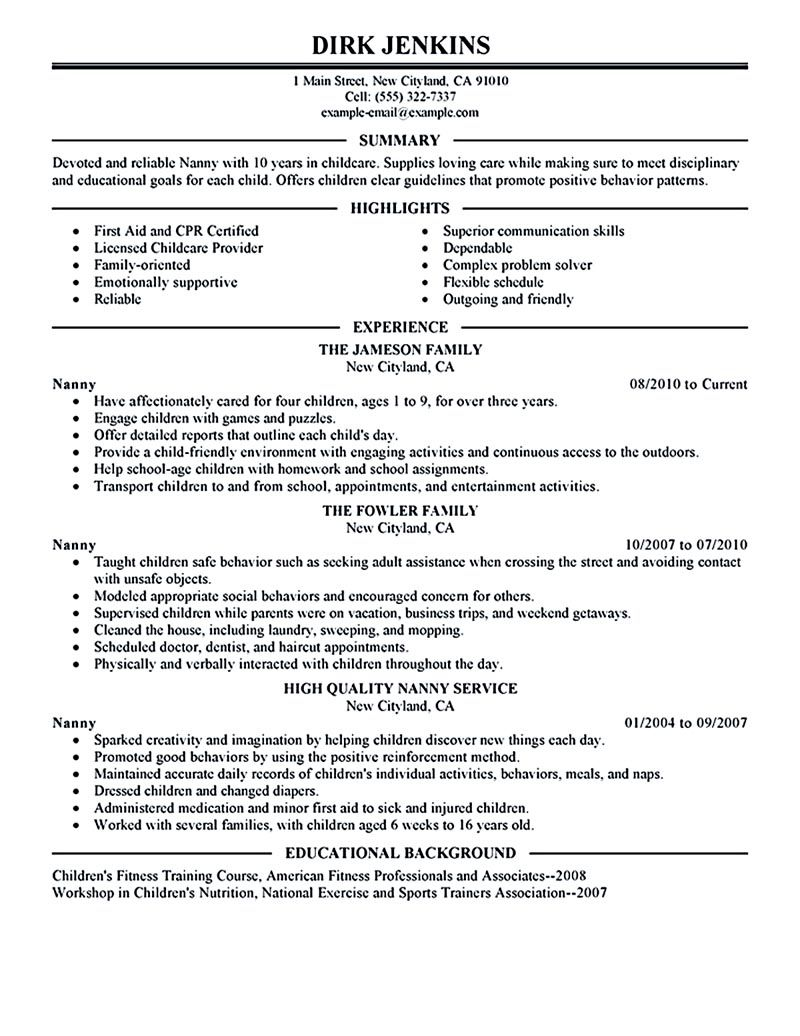nanny resume examples are made for those who are