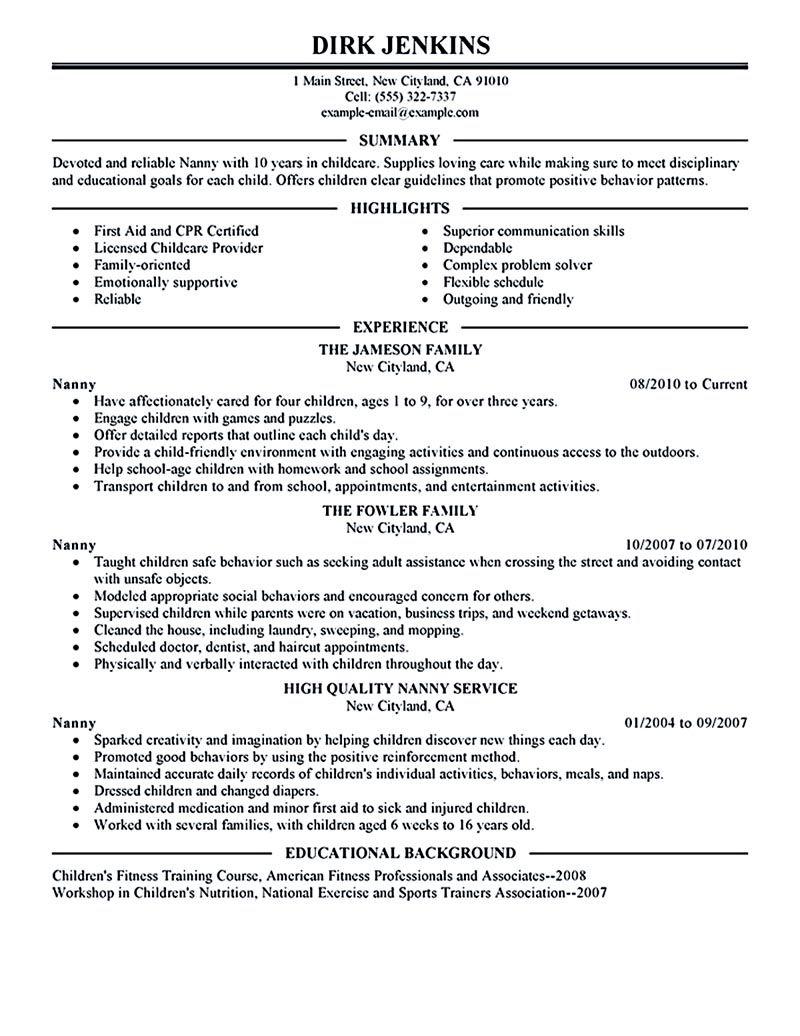 Nanny Resume Example Nanny Resume Examples Nanny Resume Sample Nanny Resume Template Resume For Nanny Resume Examples Job Resume Job Resume Examples