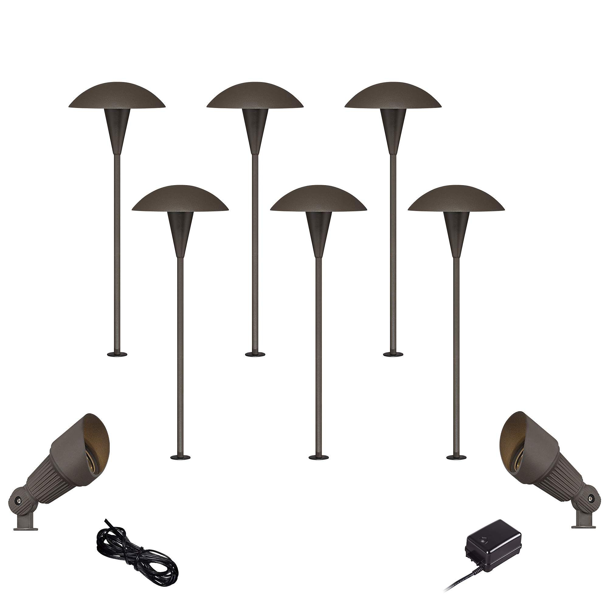 Mushroom Bronze 10 Piece Outdoor Led Landscape Lighting Set