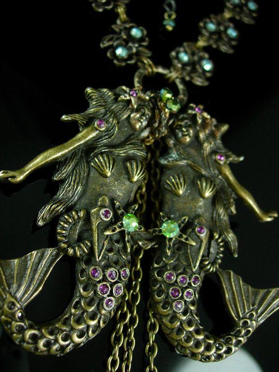 Art Nouveau Mermaid necklace Sea Goddess Long by vintagesparkles