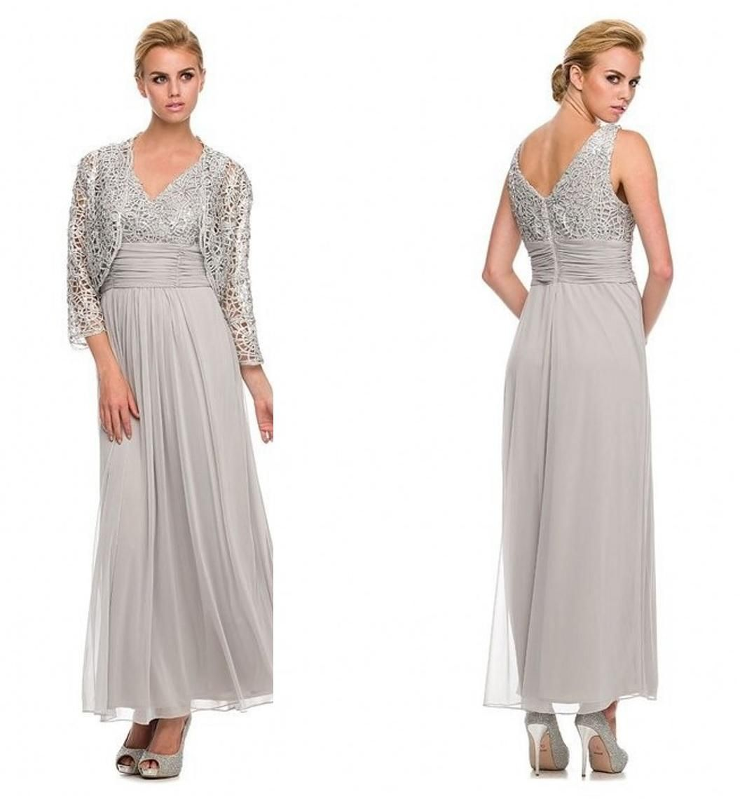 Silver/Gray Lace Tea Length Mother Of The Bride Dresses A