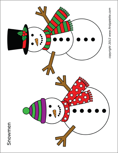 Snowman Free Printable Templates Coloring Pages Firstpalette Com Free Christmas Printables Printable Snowman Templates Printable Free