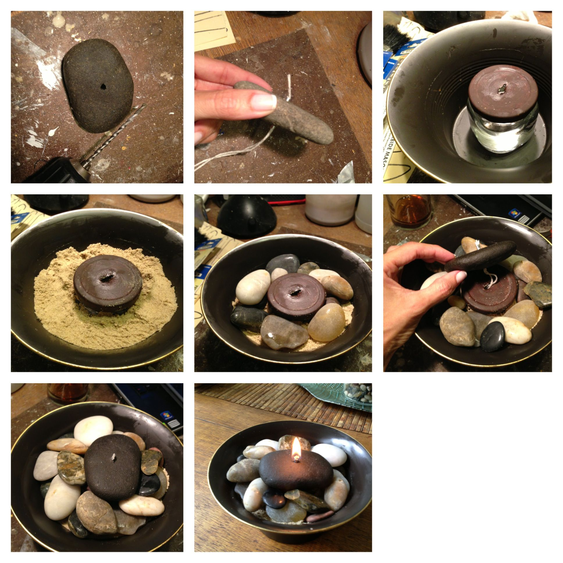 DIY rock candle 1.drill a hole through a flat rock of your choice ...