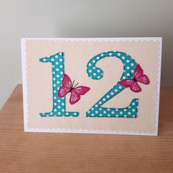 Age 12 Birthday Card 12th Anniversary Card Number 12 Etsy Anniversary Cards 12th Birthday Birthday Cards