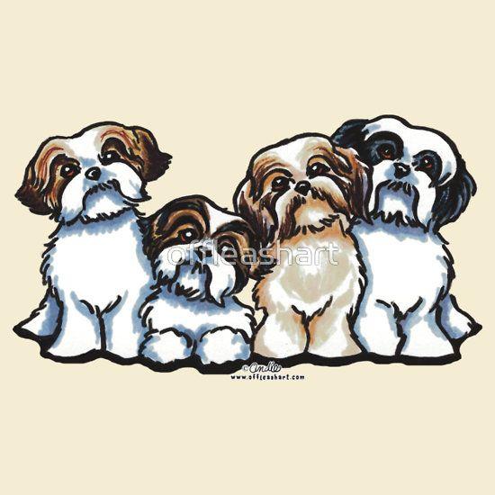 Four Shih Tzu T Shirt By Offleashart Shih Tzu Dog Shih Tzu
