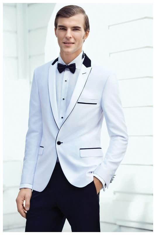 High Quality Two Button White Groom Tuxedos Groomsmen Mens Wedding ...