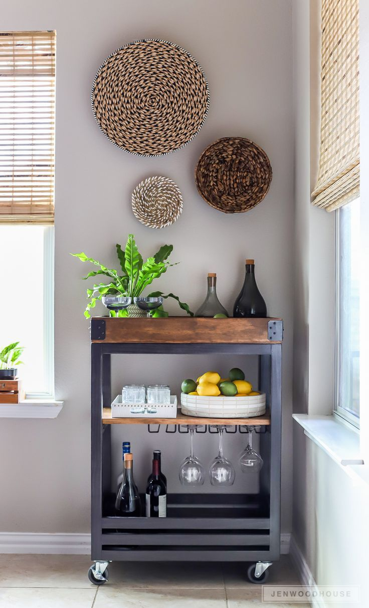 How To Build A DIY Bar Cart with A Rustic Industrial Look ...