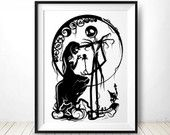 "Papercut Print signed 13""x19"" on metallic photo paper - Jack Skellington and Sally silhouette"