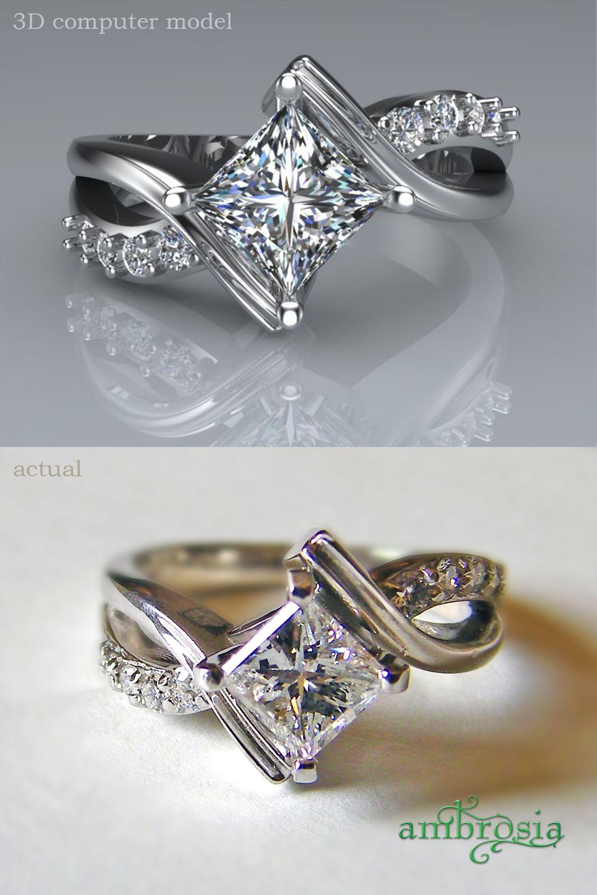 Unique Custom designed Princess cut diamond engagement ring The princess cut was rotated called a ballpark