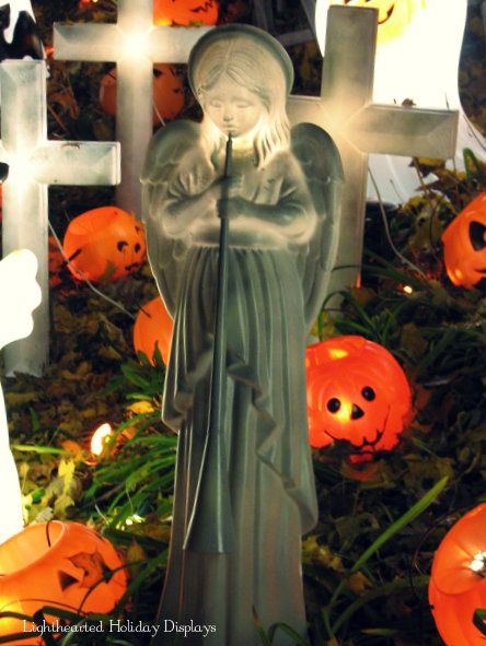 Repurposed Christmas blowmold into cemetery statue Halloween Blow - halloween statues