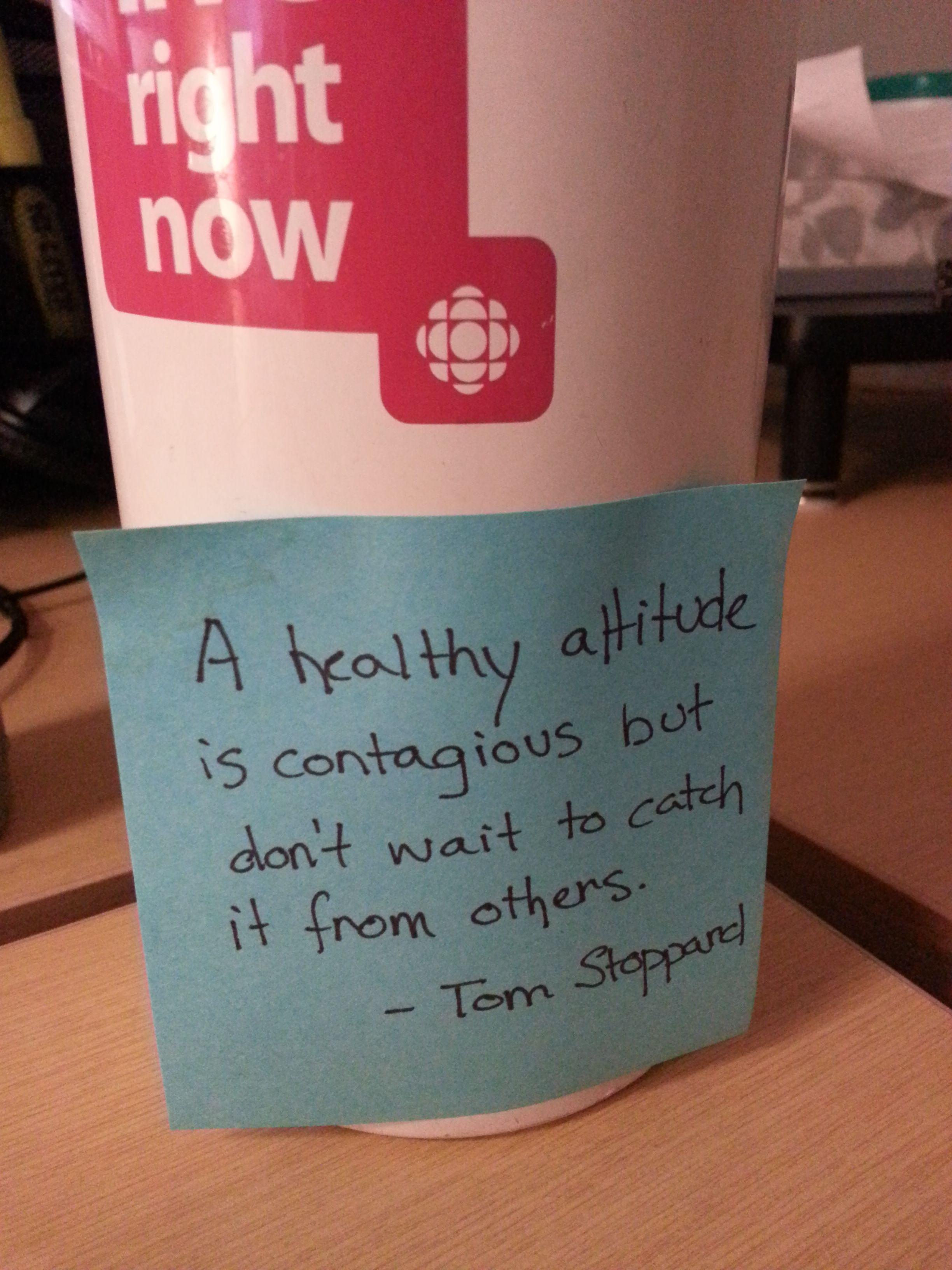 An inspiring note to switch on a healthy attitude.