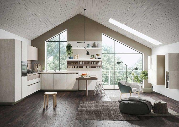 Elegante Küche im offenen Wohnraum mit Dachschräge studio - küche in dachschräge