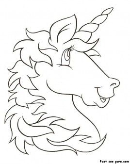 Print Out Unicorn Head Coloring Pages For Kids