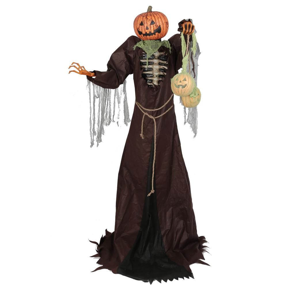 Home Accents Holiday 7 Ft Towering Jack O Man 5124610 The Home Depot Home Depot Halloween Home Depot Halloween Decorations Halloween Props Scary