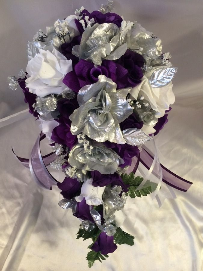 Wedding Bridal Bouquet Cascade Purple White Silver Silk Wedding