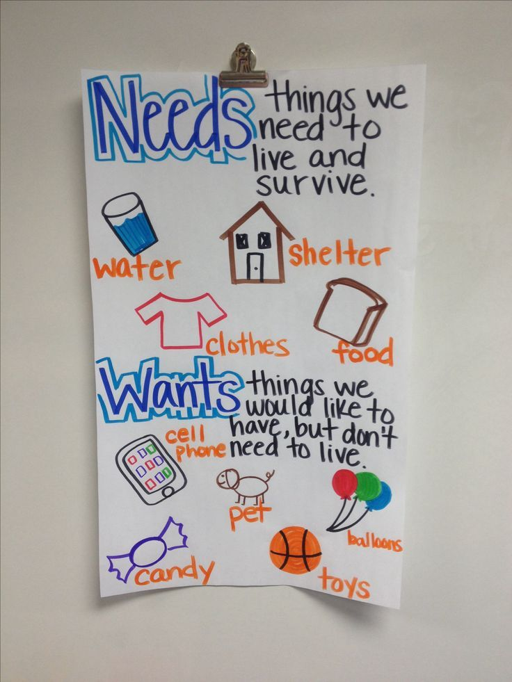 Needs and wants anchor chart! 3rd grade social studies