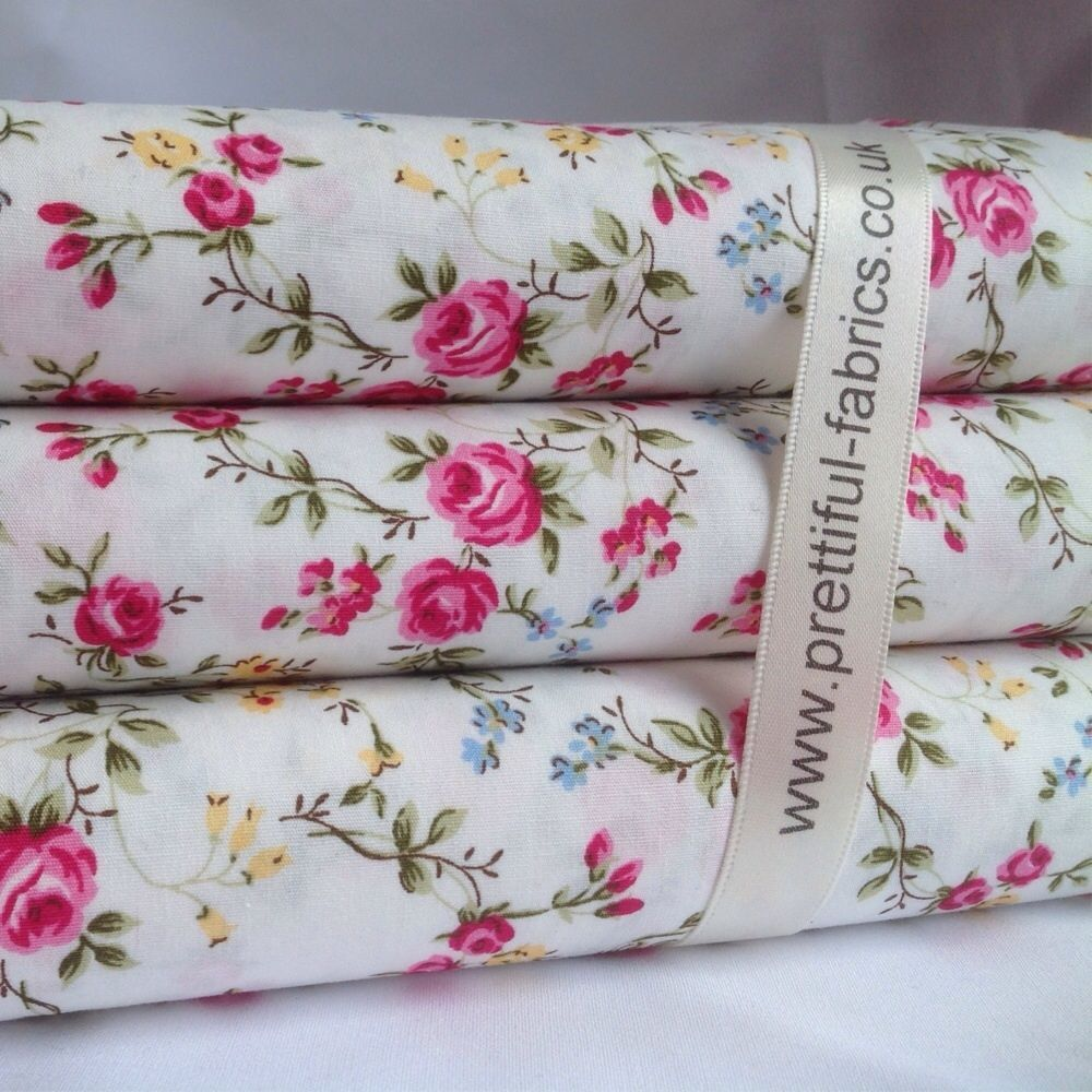 ROSE FLORAL 100% Cotton fabric, Sewing, Craft, BLACK, WHITE, CREAM, GREY & GREEN | eBay