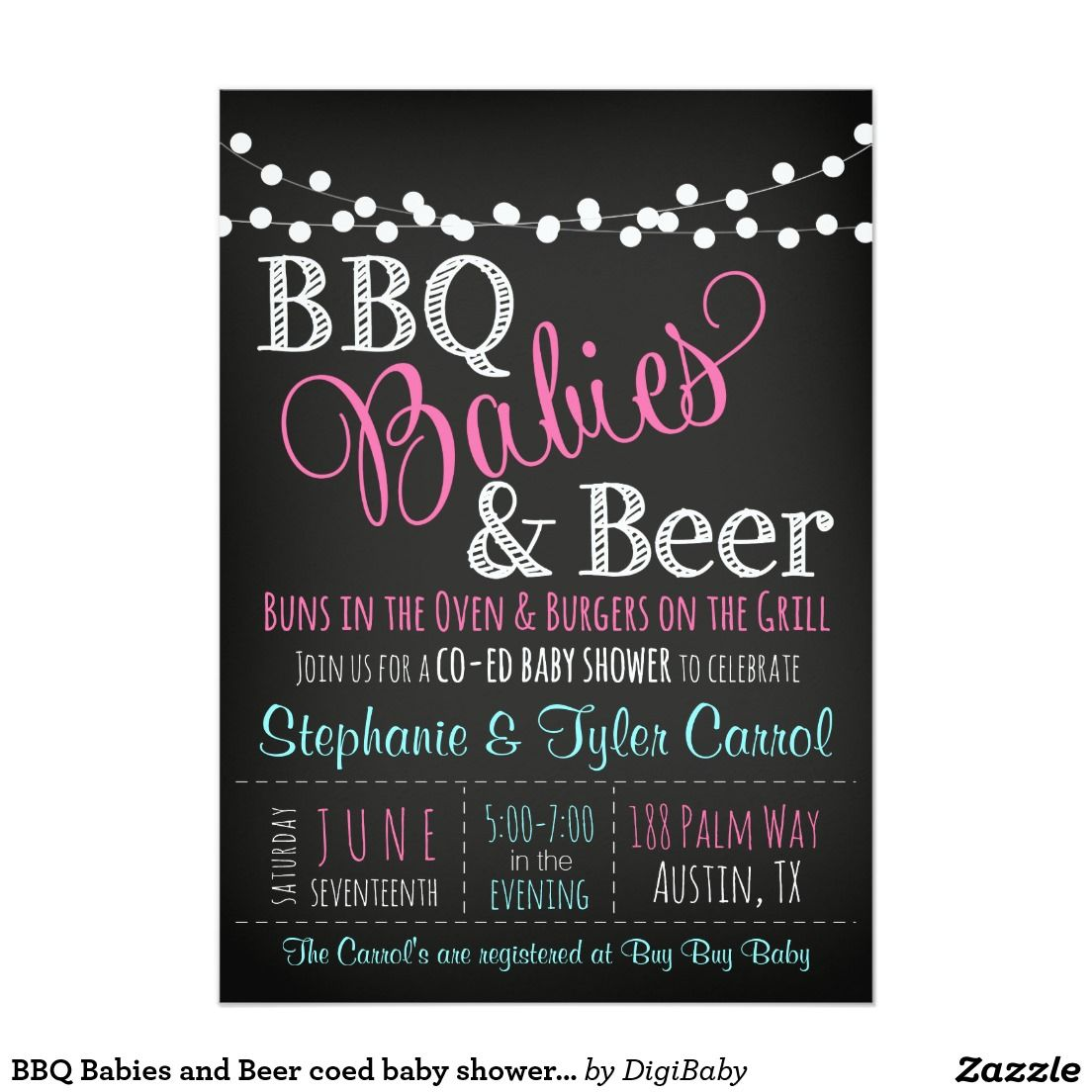 bbq babies and beer coed baby shower invitation
