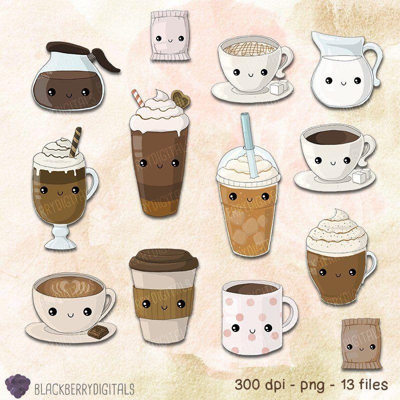 Kawaii Coffee Clipart Set Coffee Clip Art Cafe Clip Art Kawaii