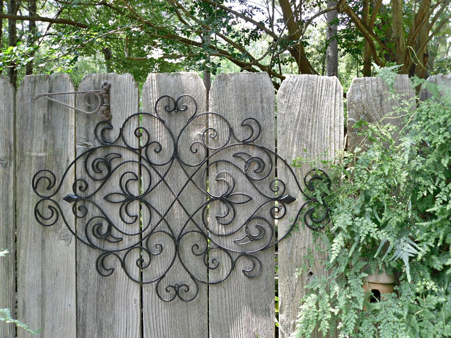 Wrought Iron Wall Decor / Black Wall Decor/ Fleur De Lis / Headboard / Wrought  Iron Headboard/ Shabby Chic Decor - Wrought Iron Wall Decor / Black Wall Decor/ Fleur De Lis