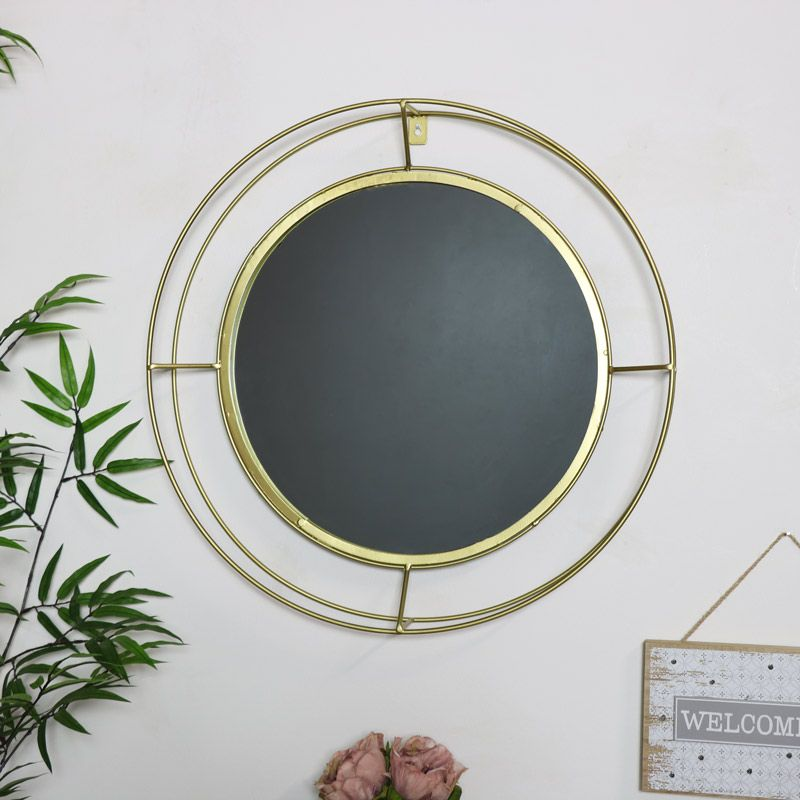 Round Gold Metal Framed Wall Mirror 53cm X 53cm Frames On Wall Mirror Vanity Wall Mirror