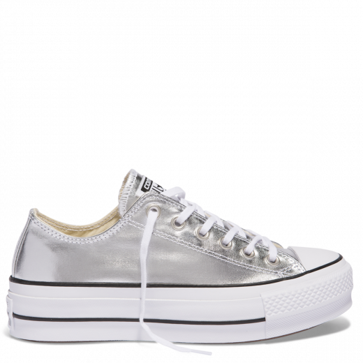 Chuck Taylor All Star Metallic Canvas Lift Low Top Silver ...
