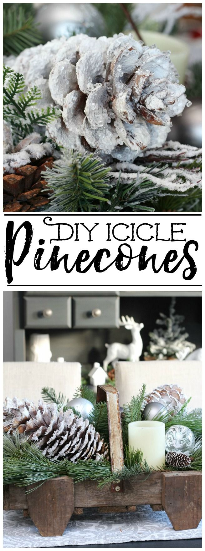 DIY Icicle Pinecones -   23 pinecone crafts white