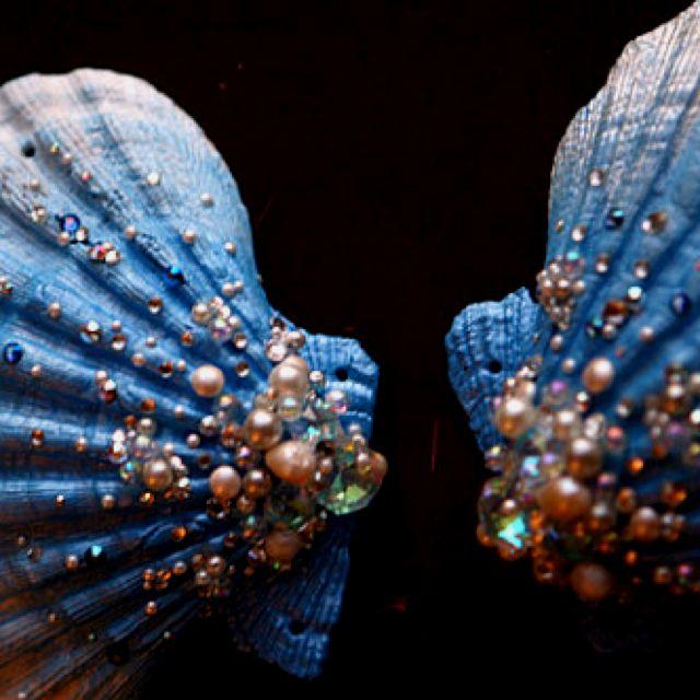 Beautiful seashell bra tops made by mermaid actress Tracy J Hines! Very cool!