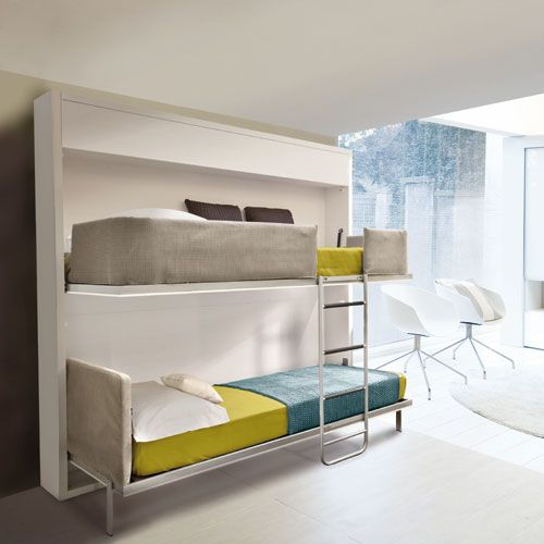 Bunk bed that folds into wall