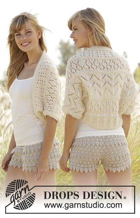 Knitted DROPS shoulder piece with lace pattern in Baby Merino and ...