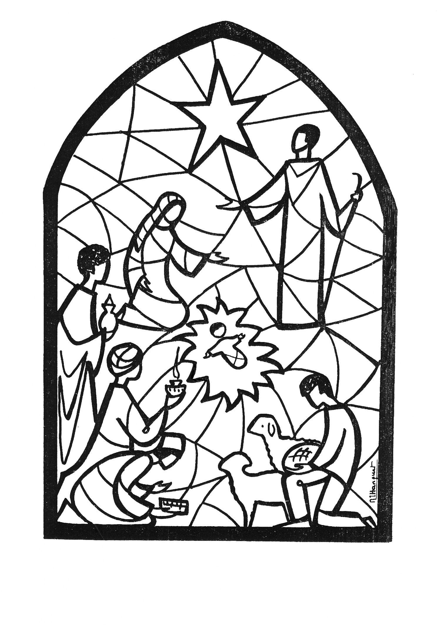 Schöne Vorlage zum Ausmalen oder für ein Adventsfenster