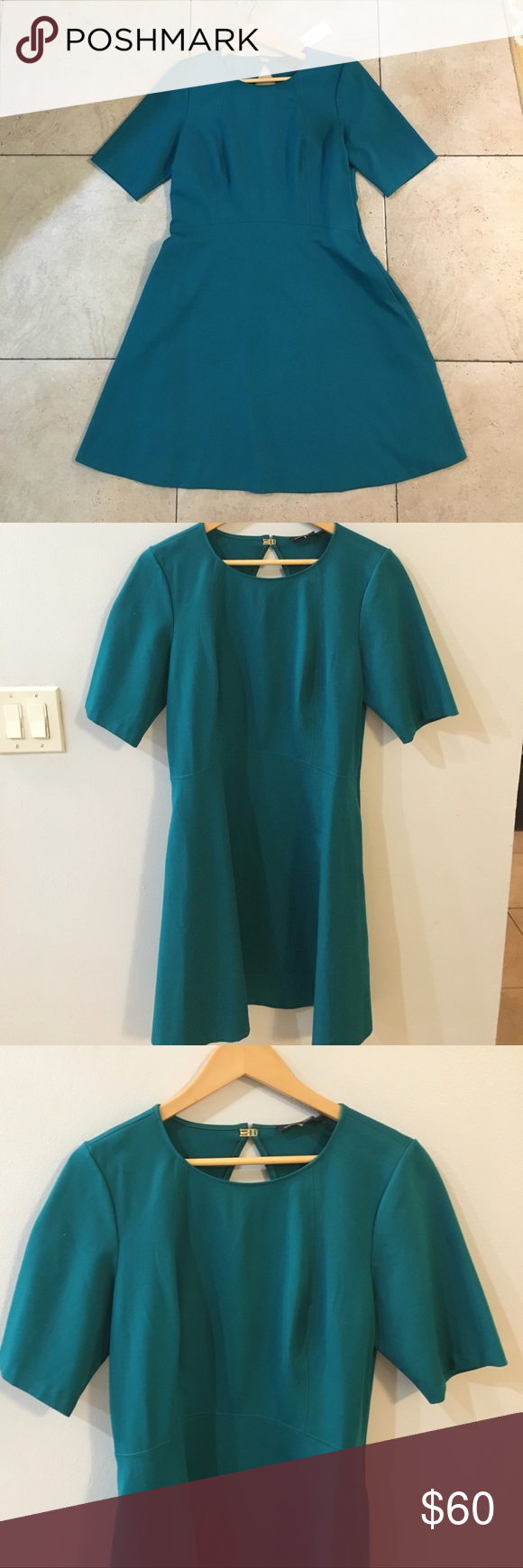 Green n gold dress  NWT Banana Republic Teal Fit n Flare Dress Size  NWT  Size
