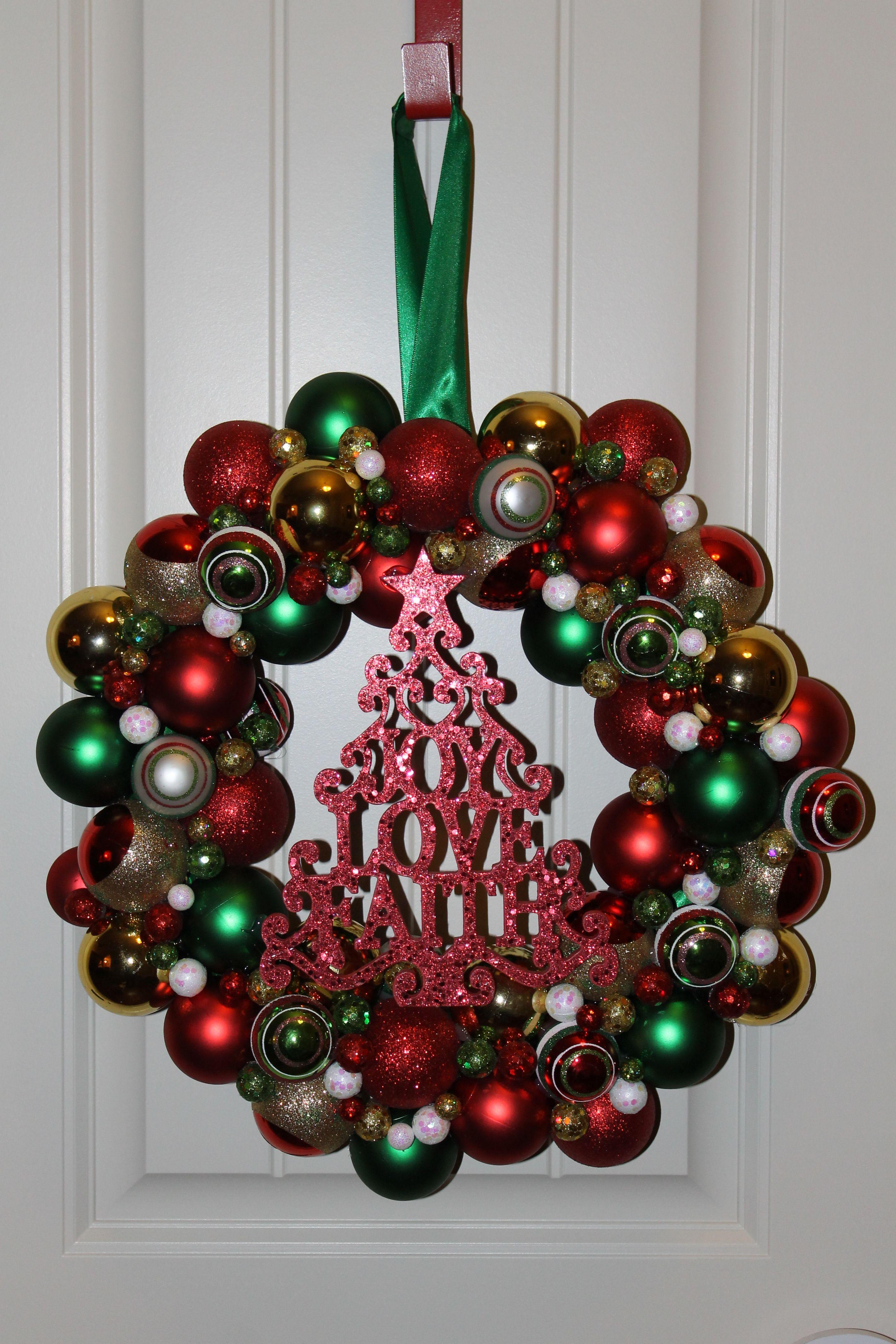Christmas Wreath I made this with hot glue, a Styrofoam