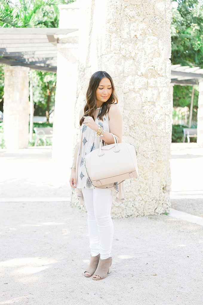 Free People swing top, white jeans and booties perfect for spring