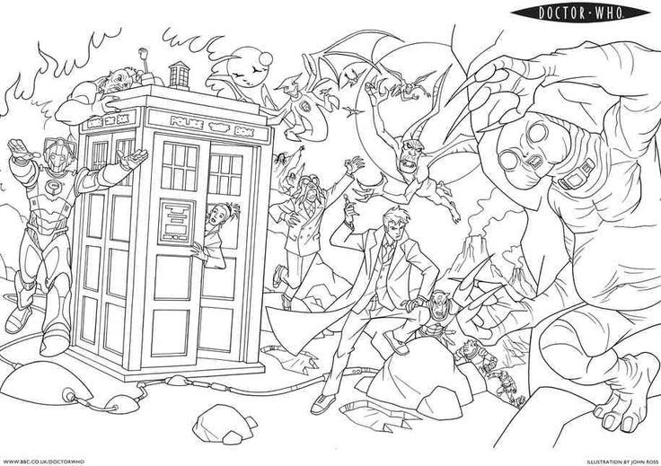 Doctor Who coloring pages.... if anyone needs me I\'ll be in my ...